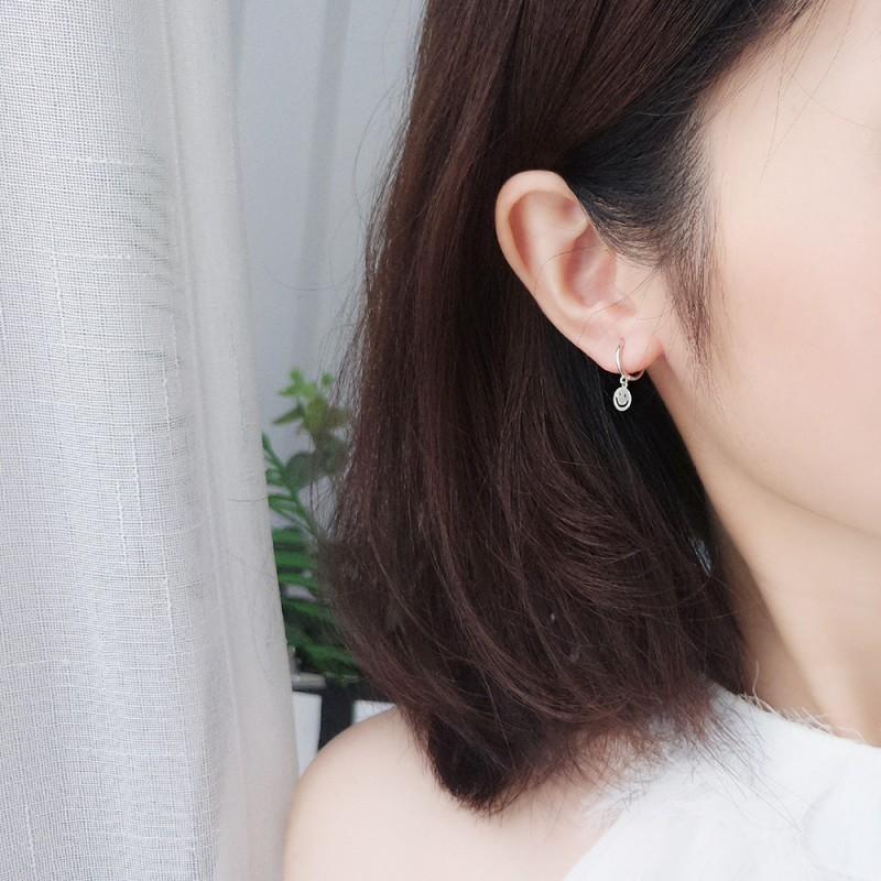 LDR8136 S925 Silver Smiley Earrings