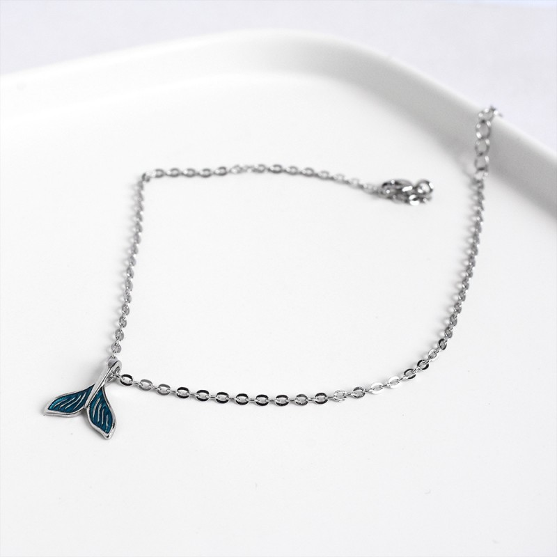 LDR8137 S925 Silver Dolphin Anklet
