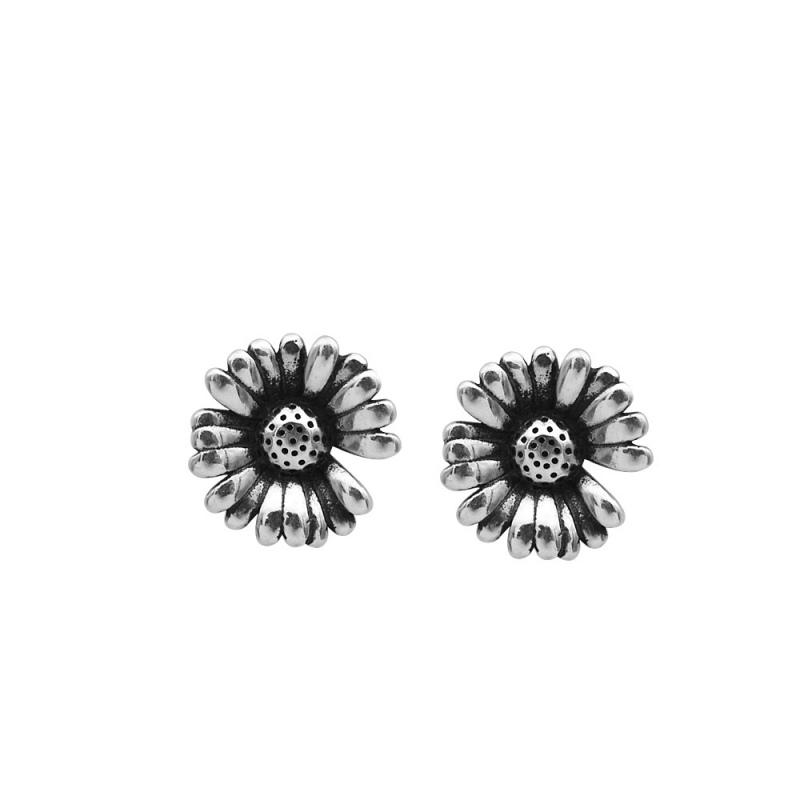 LDR8140 S925 Silver Daisy Earrings