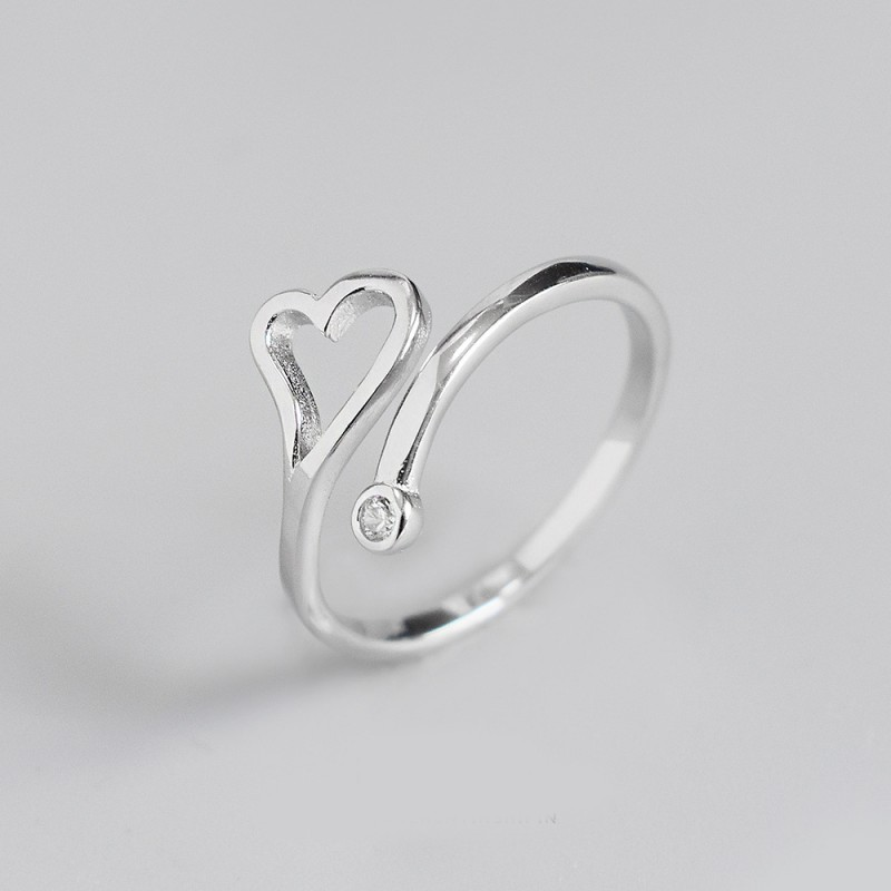 LDR8144 S925 Silver Love Open Ring