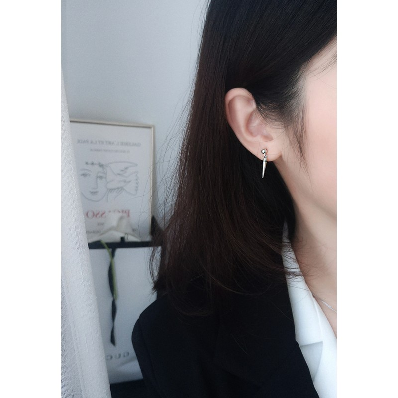 LDR9097 S925 Silver Cone and Sphere Stud Earrings