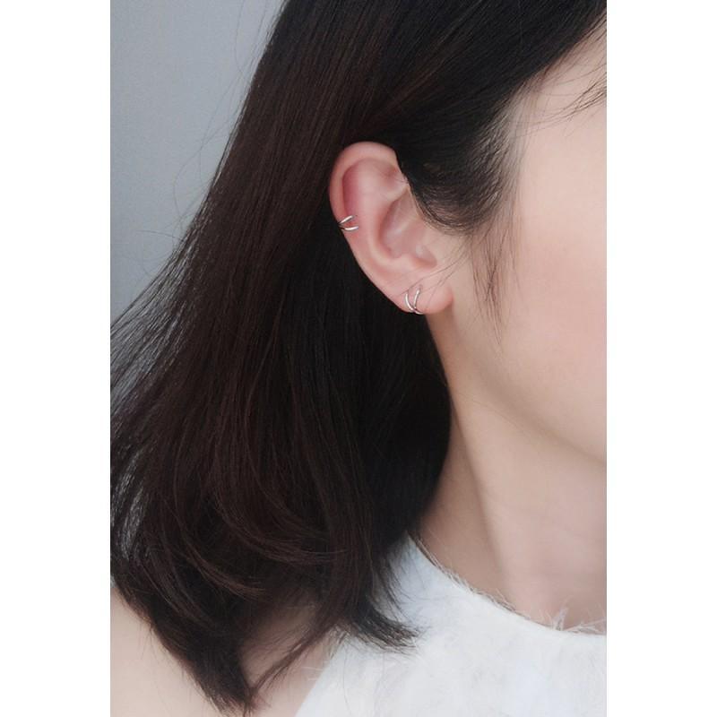 LDR9098 S925 Silver Double Twist Stud Earrings