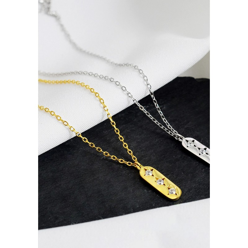 LDR9103 S925 Silver Oval Plate Necklace