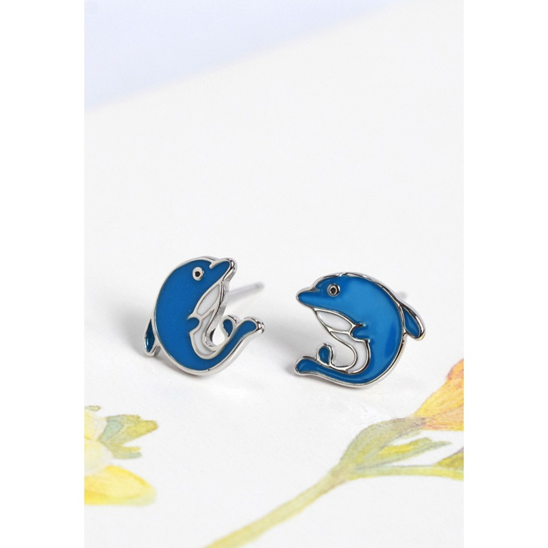 LDR9106 S925 Silver Dolphin Pair Stud Earrings
