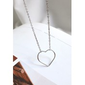 LDR9108 S925 Silver Simple Heart Necklace