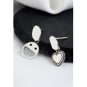 LDR9111 S925 Silver Smiley and Heart Stud Earrings