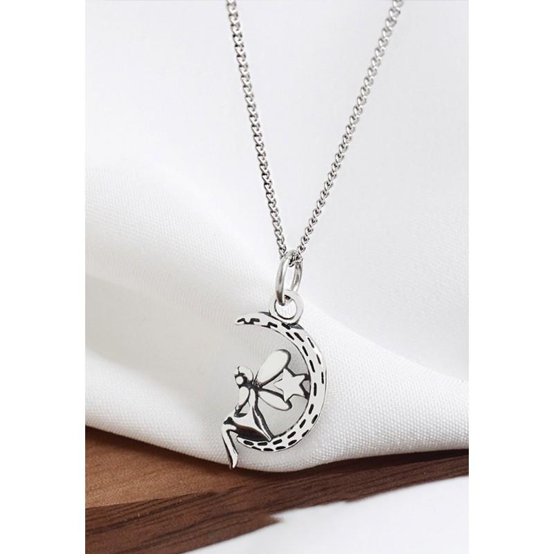 LDR9112 S925 Silver Moon Fairy Necklace