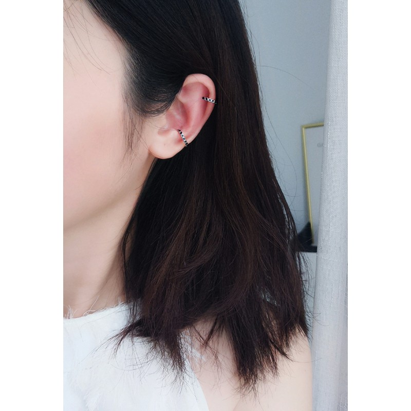 LDR9115 S925 Silver Black Circles Clip Earrings