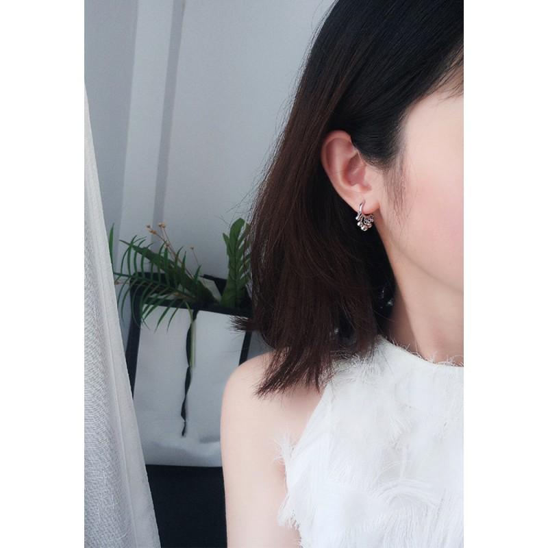 LDR9121 S925 Silver Chain Shape Clip Earrings