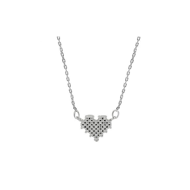 LDR9124 S925 Silver Sparkling Heart Necklace