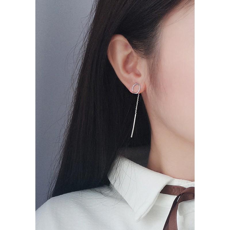 LDR9125 S925 Silver Tassel and Circle Drop Earrings