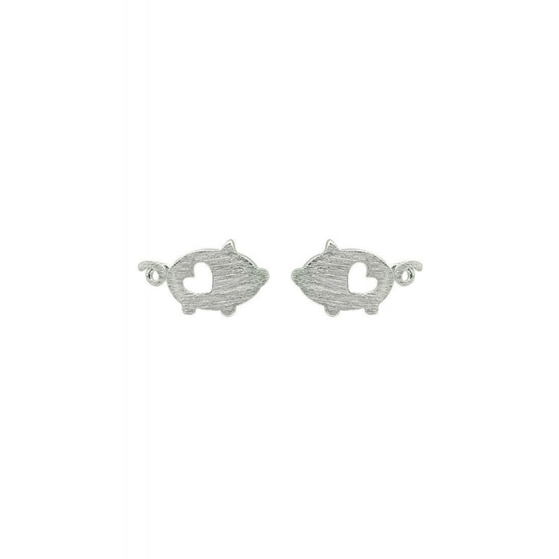 LDR9126 S925 Silver Cute Piggies Stud Earrings