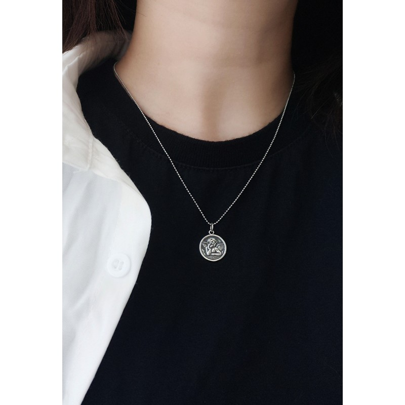 LDR9129 S925 Silver The Thinker Angel Necklace