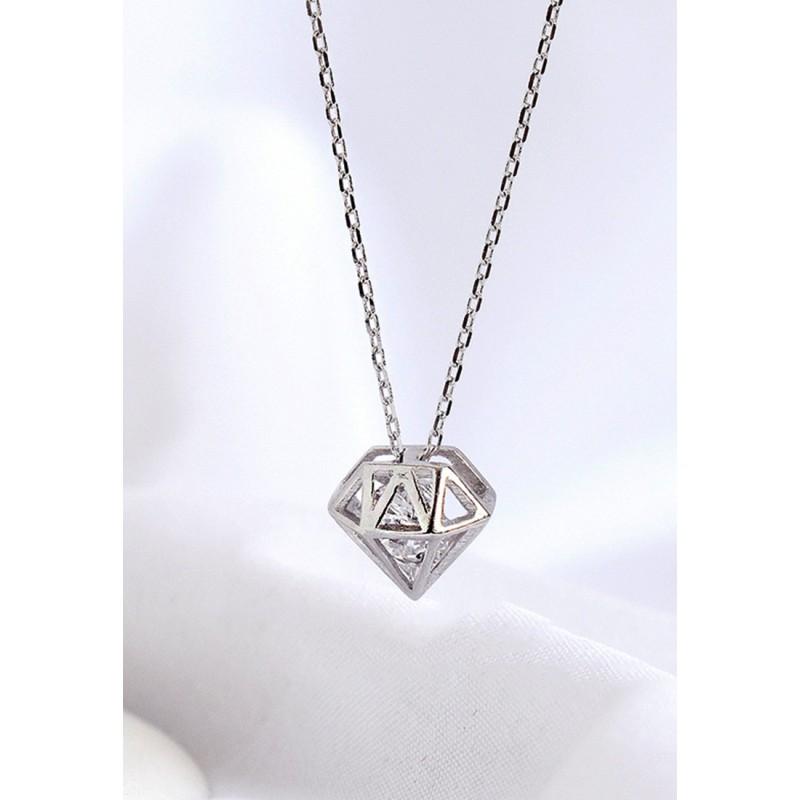 LDR9130 S925 Silver Sparkling Diamond Necklace