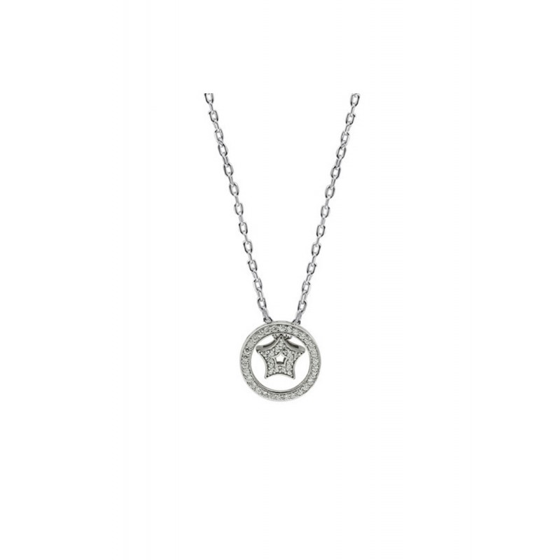LDR9137 S925 Silver Sparkling Star Necklace
