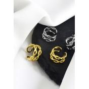 LDR9138 S925 Silver Double Layer Twist Clip Earrings