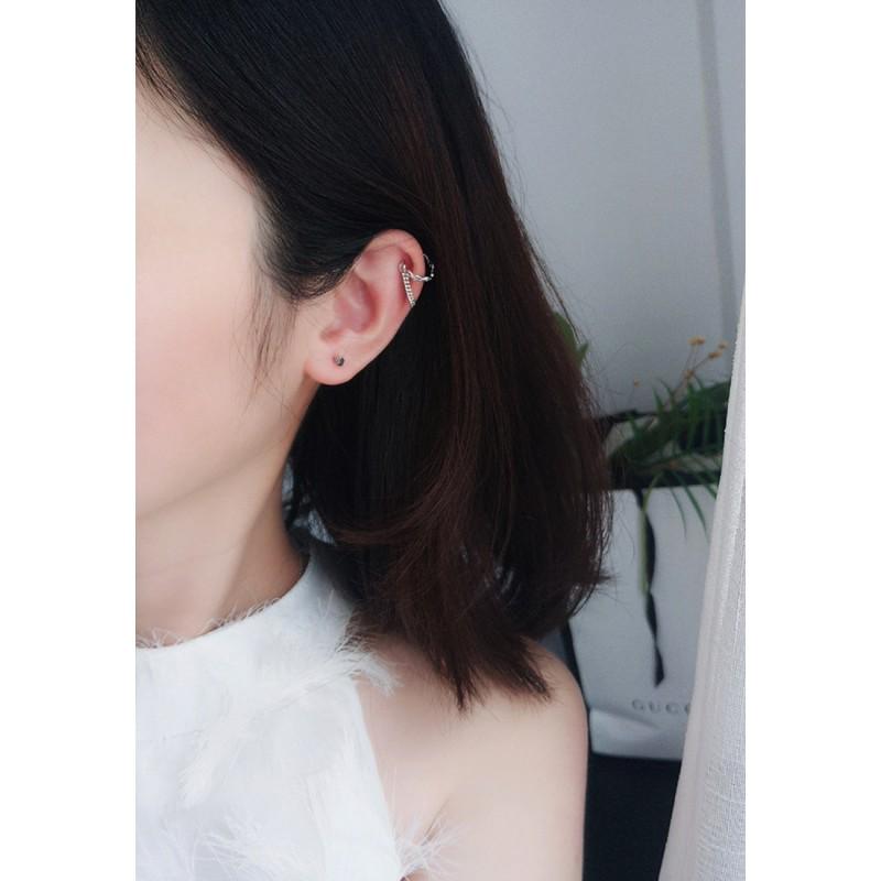 LDR9140 S925 Silver Chain Shape Clip Earrings