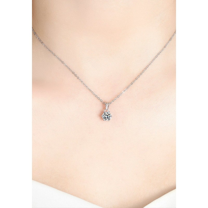 LKR1134-1 S925 Silver Moissanite  Six Claws Pendant Necklace