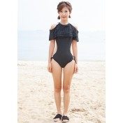 LSN9135 Korean Lady One Piece Swimsuit Black